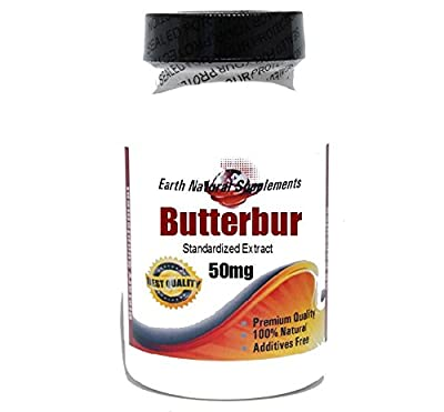 Butterbur Standardized Extract 50mg * 180 Capsules 100 % Natural - by EarhNaturalSupplements