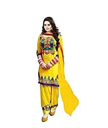Yellow cotton Unstitch embroidered designer Dress Material