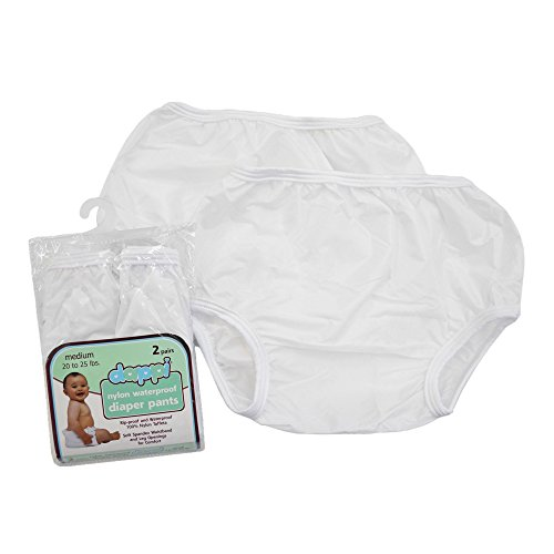 Dappi Waterproof 100% Nylon Diaper Pants, 2 Pack, White, Medium