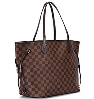 Designer Inspired Pu Leather Brown Grid Neverfull Women's Shoulder Bags
