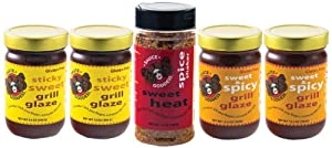 Sauce Goddess Rib Kit 2 Jars-sticky Sweet Grillz Glaze 2 Jars-sweet And Spicy Grill Glaze 1 Bbq Sweet Heat Shaker 64-ounce Pack Of 5 by Sauce Goddess Gourmet LLC