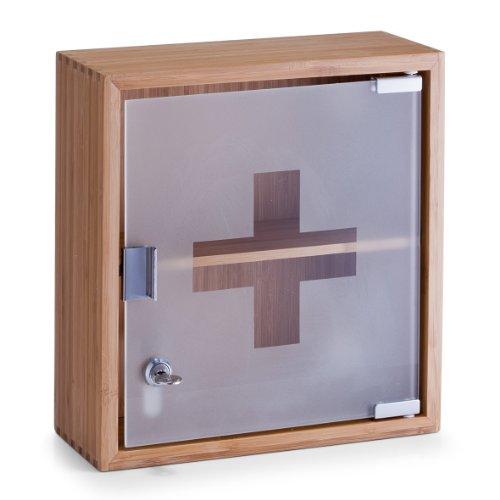 zeller-13594-botiquin-madera-de-bambu-y-cristal-29-x-12-x-31-cm