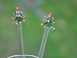 Handmade Glass Stirrers- Glass Cocktail Stirrers- Swizzle Sticks ,Glass Christmas Tree , Christmas Decor , Christmas Gift, Hand Blown Glass, Glass Rods