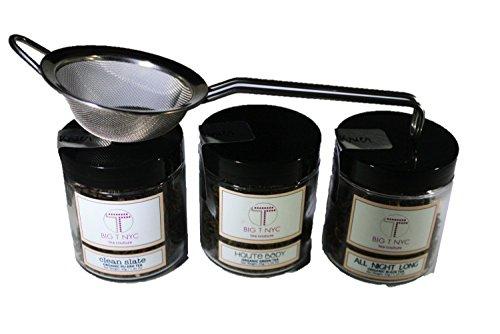BIG T NYC Nude Collection Organic Loose Leaf Tea Gift Set Includes; Black Tea, Pu-erh Tea, Green Tea and an Oversized Stainless Steel Tea (Victorian Face Masks)