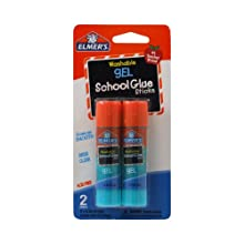 Elmer's Washable Gel School Glue Sticks, 0.28 oz Each, 2 Sticks per Pack (E518)