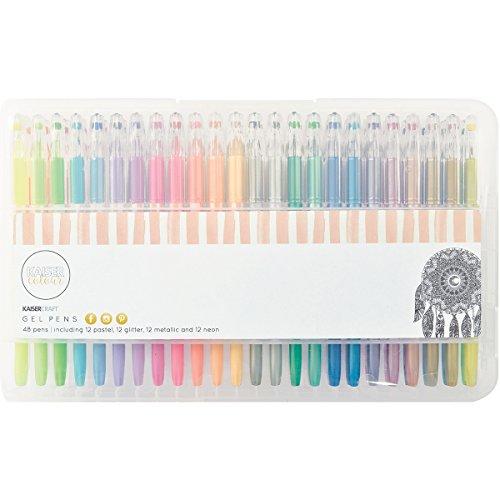 kaisercolour-gel-pens-48-pkg-pastel-glitter-metallic-neon-12ea