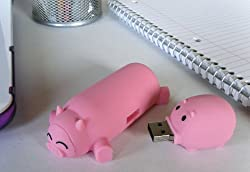 4GB USB 2.0 Pink Pig & Piglet Flash Drive for Mac or PC