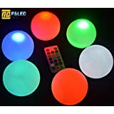 P&LED Set Of 6 Mood Light Garden Deco Balls (Light Up Orbs),Floating Pool Lights,Party ball lights For Swimming Pool,Garden and Party Decor Outdoor Waterproof Pond Path Landscape Lights