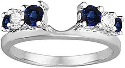 14k Gold Double Shared Prong Graduated Six Stone Ring Wrap with Diamonds and Sapphire 075 ct twt