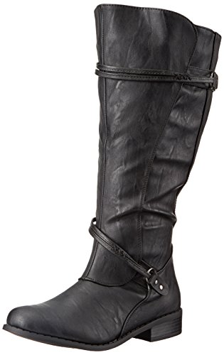 Brinley Co Women's Olive-Xwc Riding Boot, Black Extra Wide Calf, 10 M US