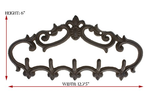 "Cast Iron Wall Hanger - Vintage Design with 5 Hooks - Keys, Towels, Clothes, Anprons - Wall Mounted, Metal, Heavy Duty, Rustic, Vintage, Recycled, Decorative Gift Idea - 12.9x 6.1""- With Screws And Anchors By Comfify - CA-1504-25-BR 5"
