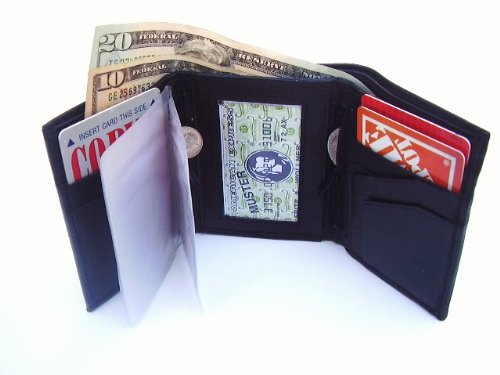 Mens Black Leather Wallet Lambskin Trifold 733