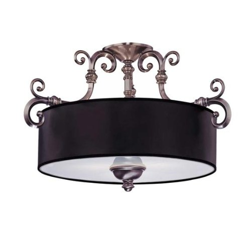 Savoy House Lighting 6-5685-3-187 Mont La Ville 3-Light Semi-Flush Ceiling Mount Fixture, Brushed Pewter with Black Shade