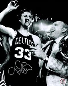 Larry Bird signed Boston Celtics 8x10 B&W Cigar Celebration Photo w Auerbach-... by Athlon Sports Collectibles