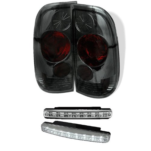 Carpart4U Ford F150 Styleside / F250/350/450/550 Super Duty Euro Style Smoke Tail Lights & Led Day Time Running Light Package