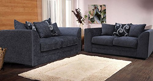 Delicieux New Alexa Chenille Sofa Set With Scatter Cushions Grey And Silver (3 + 2  Seater