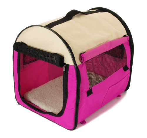 Pet Carrier - Dog House Soft Crate Cage Kennel - Portable - Pink And White front-953473