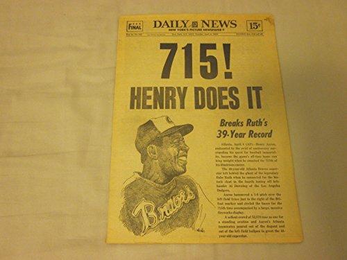 1974 Complete New York Daily News Newspaper Hank Aaron 715