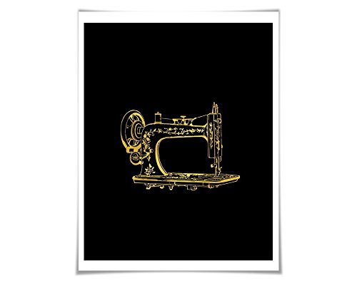Antique Sewing Machine Gold Foil Art Print. 36 Colours. Gift for Seamstress Crafter Vintage Poster Clothing Designer (Crafters Choice Sewing Machine compare prices)