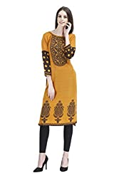 Vaamsi Women's PolyCotton Unstitched Kurti Fabric(KFD1009_Orange_Free Size)