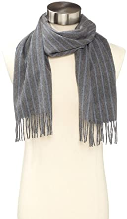 Amicale Men's 100% Cashmere Pinstripe Scarf, Grey, One Size