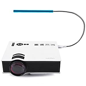 Tronfy 800 Lumens Mini Mobile Pico Portable LCD LED Home Theater Cinema Projector With Blue USB 10-LED Touch Light and 1.5m 1.4v HDMI to HDMI Cable