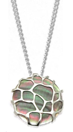 Silver Grey Mother of Pearl Crazy Pave Pendant with Chain of 41cm