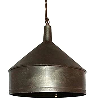 plug in rustic primitive funnel metal swag lamp hanging pendant light. Black Bedroom Furniture Sets. Home Design Ideas