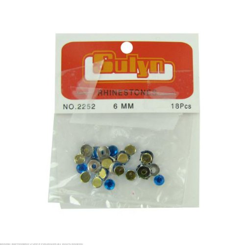24 18 pc 6mm blue rhinestones with mounts
