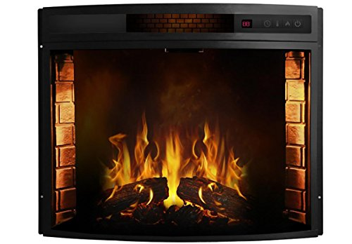 Moda Flame Elwood 26 Inch Curved Ventless Electric Space Heater Built-in Recessed Firebox Fireplace Insert (Gas Fireplace Insert 42 compare prices)