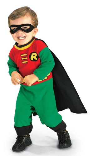 Rubie'S Costume Co Baby Boy'S Teen Titans Robin Romper Costume, Multi, 12-24 Months back-519945