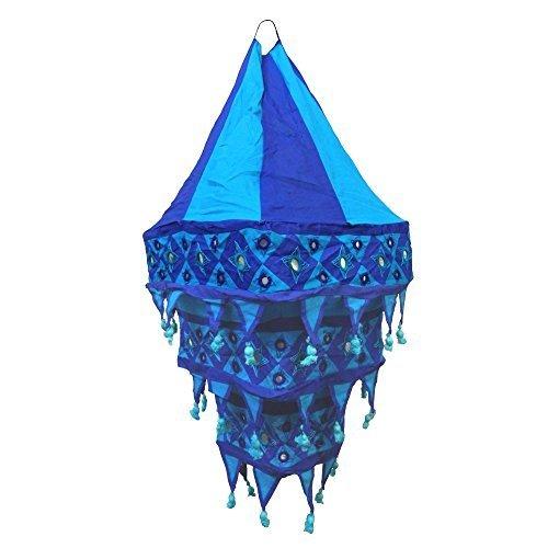 paralume-lanterna-a-tre-lande-70cm-blu-turchese-quadrato-tessuto-indiano-mano-dopera-dindia