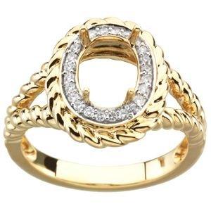 Jewelplus Genuine Madeira Citrine & Diamond Ring 14K Yellow 1/8 Ct Tw Semi
