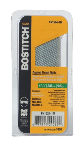 BOSTITCH FN1524-1M 1-1/2-Inch 15-Gauge FN Style Angled Finish Nails, 1000-Qty.