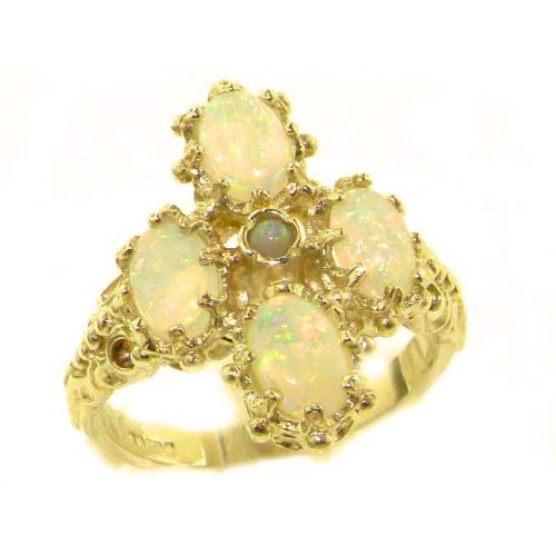 Heavy Weight Victorian Design Solid Yellow Gold Natural Very Fiery Opal Ring - Size 9.25 - Finger Sizes 5 to 12 Available