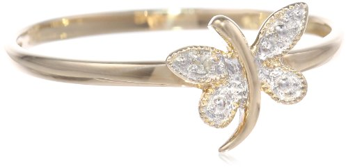 10k Yellow Gold Dragonfly Ring with Diamond-Accent, Size 7
