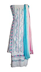 eco haat Hand Crafted vibrant Cotton Patchwork and embrioded unstitched Salwar Suit Dress Material