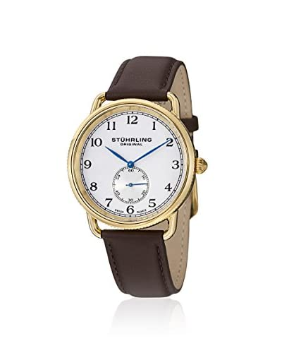 Stuhrling Original Men's 207.03 Classic Cuvette Swiss Quartz Gold Tone Brown Leather Watch