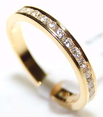 Ah! Jewellery. Women's Channel Set Most Sparkly Lab Diamonds Ring. Outstanding Quality Full Eternity Band. 18k Gold Over Sterling Silver 925 Stamped.
