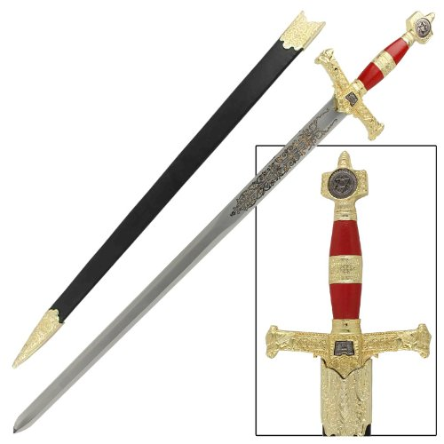 King Solomon Medieval Crusader Replica Longsword With Scabbard Red