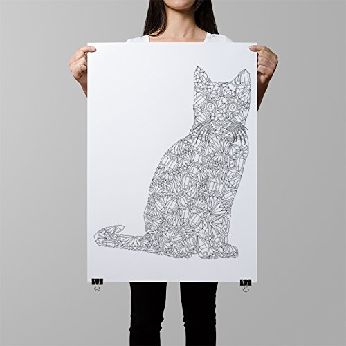 katze poster zum ausmalen katzenillustration katze diy. Black Bedroom Furniture Sets. Home Design Ideas