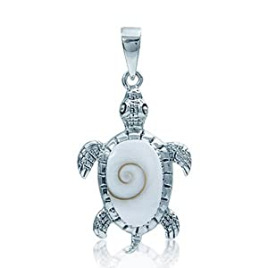 Shiva Shell Inlay 925 Sterling Silver TURTLE Pendant