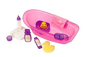 "You & Me: Bath Tub for 16"" Baby Dolls - Includes Accessories and Rubb er Duckie - Pink Tub from Toys"