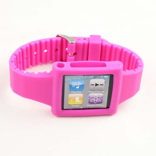 Silicone Wrist Strap Wrist Band Watch Band for iPod Nano 6th Pink