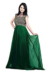 Femeie Apparel Women's A-Line Unstitched Dress (Green)