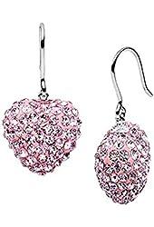 5 Carat Heart Dangling 925 Sterling Silver Cubic Zirconia Stud Earrings in Pink