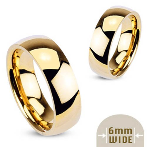 316L Stainless Steel Gold IP 6mm Wide Glossy Mirror Polished Traditional Wedding Band Ring - Size 8