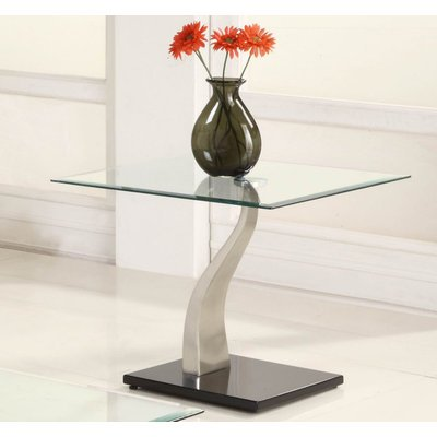 Cheap Homelegance Atkins Square Glass End Table in Chrome & Black Metal (3402-04-G)