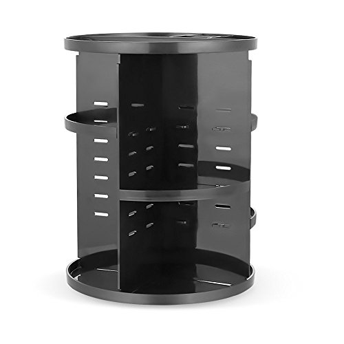 HiCollie Makeup/Cosmetic/Jewerly Organizer 360 Rotating /Revolving Cosmetic Storage Tabletop Big Capacity Carousel New Stylish 2016 Black (Tabletop Cosmetic Organizer compare prices)