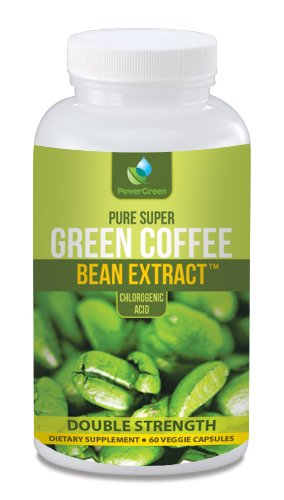 PowerGreen Green Coffee Bean Extract, 800 mg per Capsule, 60 Vegetarian Capsules per Bottle (Contains Some Chlorogenic Acids)